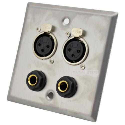 "Steel Wall plate panel 2 XLR 2 1//4/"" 6.35MM Female Socket Jack Adapter Converter"