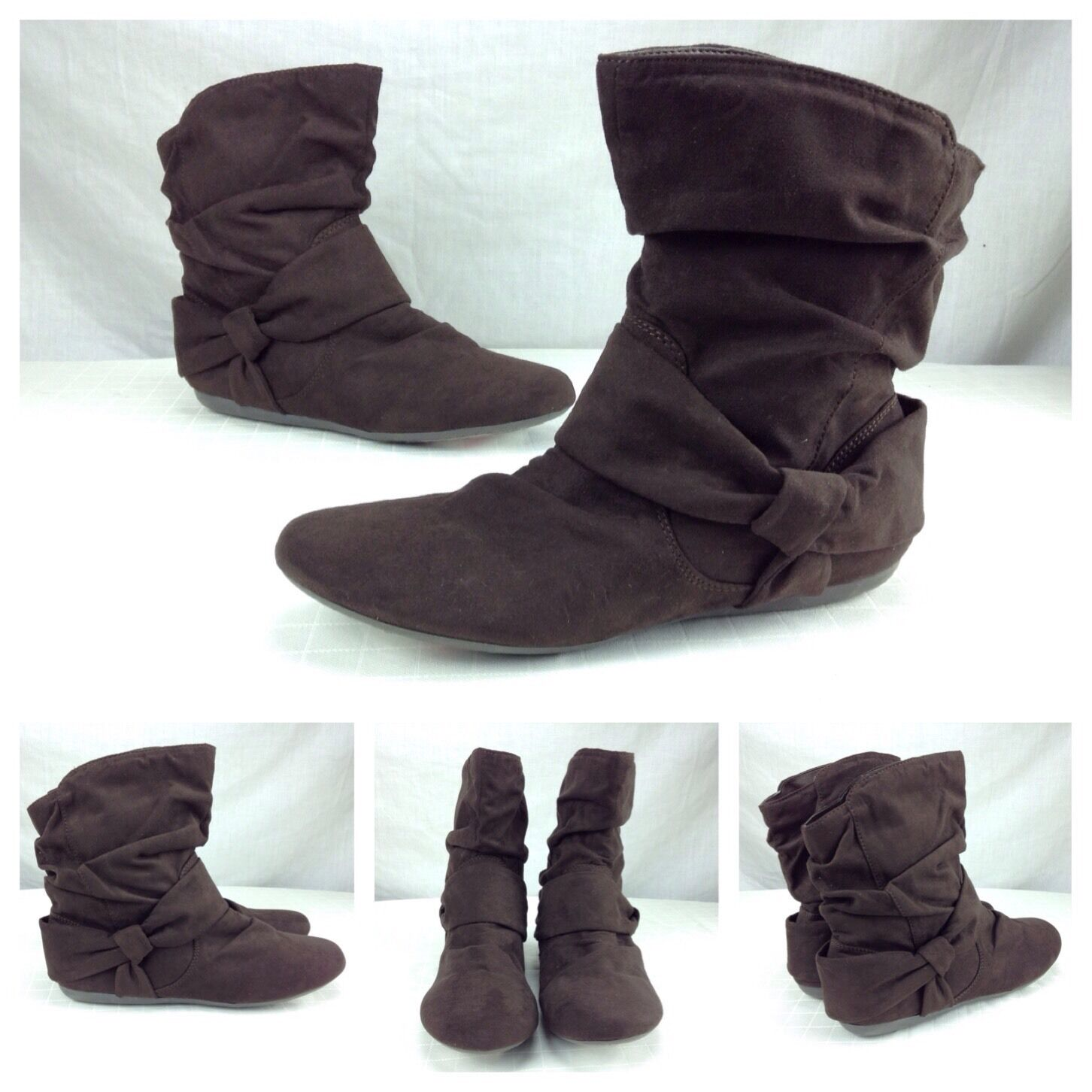 Report New Sexy Brown Bow Tie Pleated Ruffle Ankle Booties Boots Sz 8.5  89