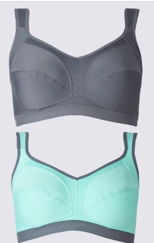 NEW M&S MARKS AND SPENCER 2 PACK NONWIRED HIGH IMPACT SPORTS BRA 30 C D DD