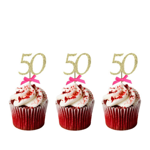 50th Birthday Cupcake Toppers with Bows-Glittery Gold /& Black Pack of 10