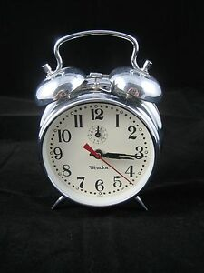 Westclox Chrome Shiny Metal Double Bell Alarm Clock--Not Working