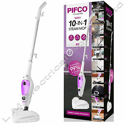 Pifco 10in1 1500w Steam Mop Hand Held Cleaner Steamer Floor Carpet Washer Window