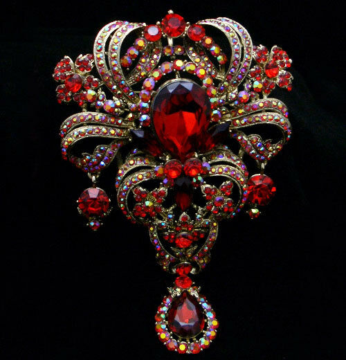 "5.1"" Vintage Flower Floral Brooch Pin Ruby Red Austrian Crystal Gold Tone E448"