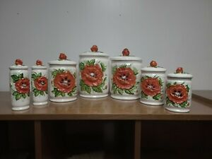 Vintage-Sears-Roebuck-Poppy-Kitchen-Canister-Set-Rare-7-Pieces-1970s-Ceramic