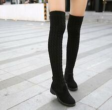 f22986ccc92 Chic Women s Knitting Wool Cuffed Over The Knee Boots Slim Fit Winter Warm  Shoes