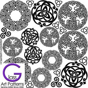 Celtic-Knot-Round-Fusing-Glass-Decal-Waterslide-Ceramic-Enamel-Black-Hi-Fire