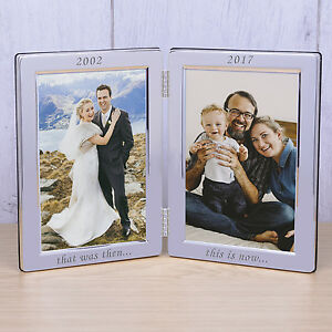 Personalised Date Silver Plated Double Photo Frame That Was Then