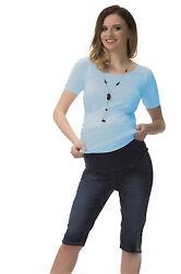 Stretch 3/4 Capri Jeans Umstand Hose Bauch Jeanshose Umstandshose