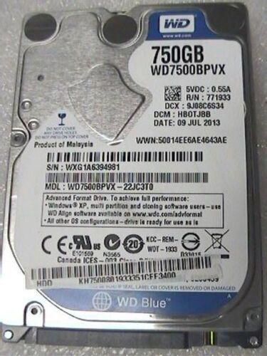 "1 of 1 - 750Gb Western Digital WD7500BPVX 2.5"" WD Blue internal SATA laptop Hard Drive"
