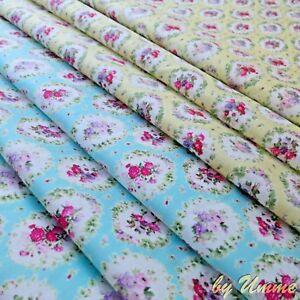 Lemon-amp-Sky-pretty-Bouquet-100-Cotton-Fabric-clothing-craft-quilting