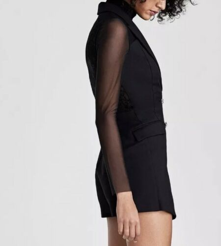 RARE/_NWT ZARA AW17 BLACK LACE COMBINED TUXEDO JUMPSUIT JEWL BUTTONS/_XS S M
