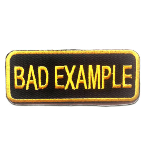 BAD EXAMPLE Biker 9.1x3.6cm yellow Application badges Iron on patches