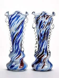 PAIR-VINTAGE-MURANO-END-OF-DAY-OVERLAY-GLASS-VASES-C-1960