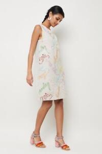 GORMAN linen dress Colour Wheel embroidered shift tunic Ladies 14 - 16  NEW $349
