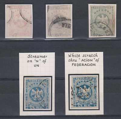 VENEZUELA 1863 EAGLE Sc 10, 11 & 13 GROUP OF FIVE FORGERIES USED (CV$462)