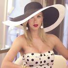 Women's Big Wide Brim Kentucky Derby Spectator Hat Black White Straw Summer