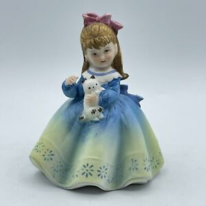 Lefton China Vintage Girl Porcelain Figurine KW6718 Girl with Cat Hand Painted