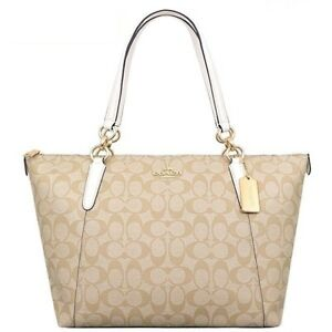 NWT-Coach-F58318-F55064-AVA-Signature-Tote-Handbag-Purse-Bag-Light-Khaki-Chalk