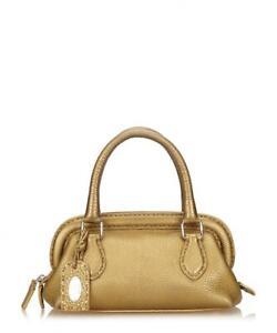 c51dccad05 Image is loading Fendi-Vintage-Gold-Tone-Bag-Leather-Metallic-Grab-