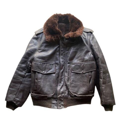 Vintage 60's G-1 Leather Bomber Flight Fur Jacket - image 1