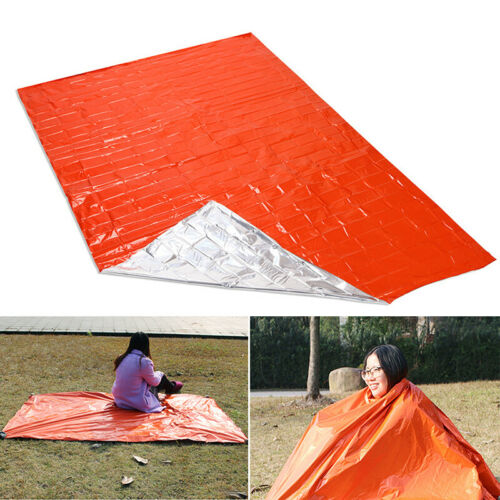 Reusable Camping Mat Thermal Blanket Insulation Orange Outdoor Durable