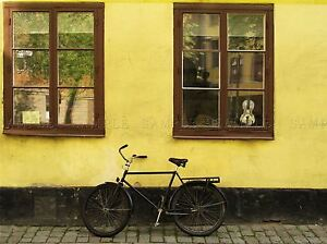BICYCLE-WINDOWS-BLACK-BRICK-YELLOW-RUSTIC-PHOTO-ART-PRINT-POSTER-BMP1187A