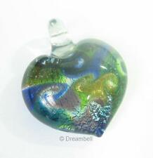 Lampwork Fused Dichroic Gold Silver Heart Pendant 40mm