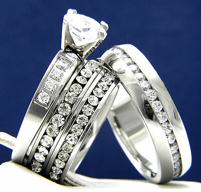 2.04 CT CZ Women's Engagement Stainless Steel Men's Wedding Bridal Band Ring Set