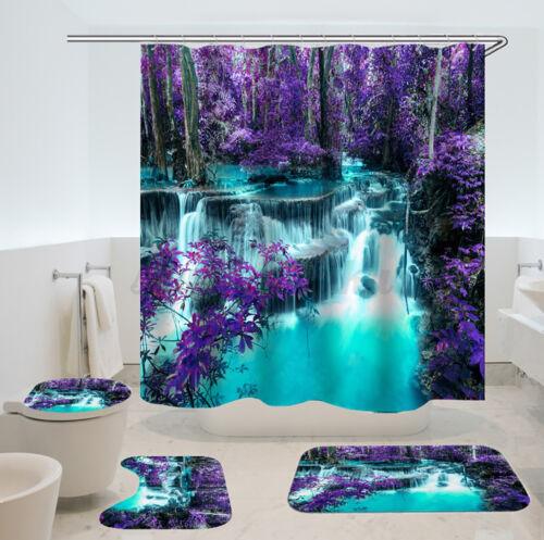 4PCS Shower Curtain Bath Mat  Lid Cover Bathroom Decoration Waterproof 180cm