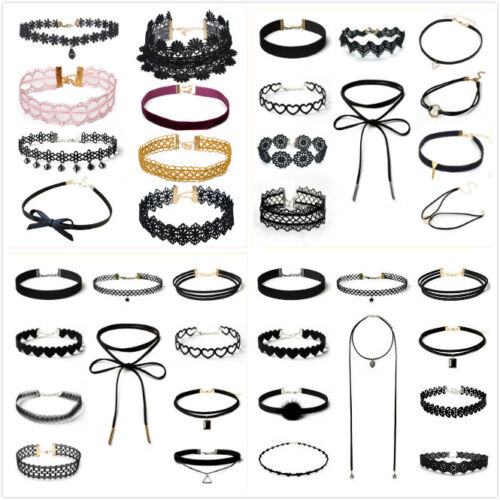 Charm 10Pcs//Set Gothic Punk Velvet Lace Choker Bead Pendant Necklace Jewelry