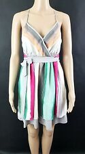 HYPE Feen Silk Multi-Color Striped Mini Dress Sz 4 $198