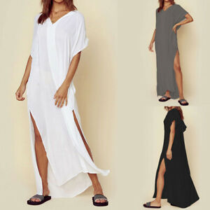Womens-Summer-Hoodie-Bikini-Beachwear-Loose-Cover-Up-Cocktail-Party-Beach-Dress