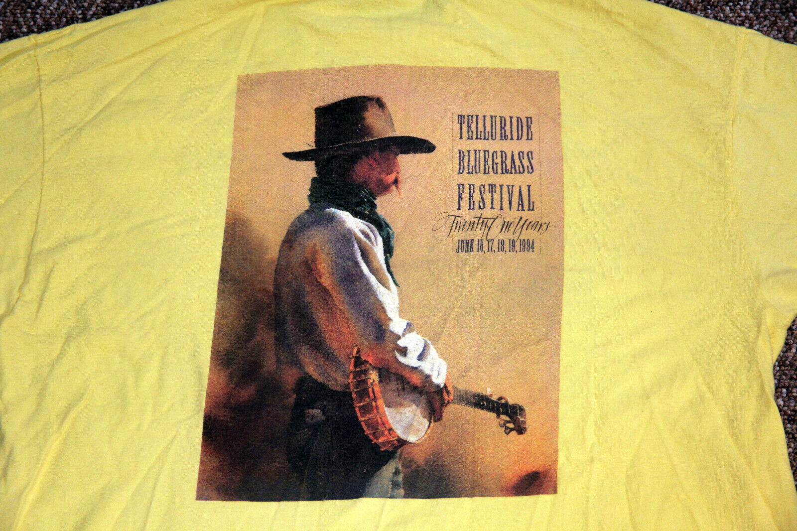 Vintage 21st Annual 1994 Telluride Blaugrass Festival T-Shirt Extra Large XL