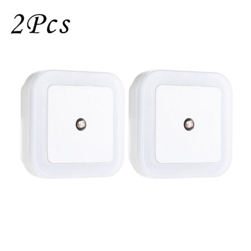 2x 0.5W Plug-in Auto Sensor Control LED Night Light Lamp Wall Light EU//US Plug