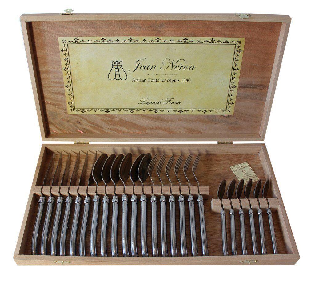 Laguiole France, Jean noirn Set de 24 couverts en acier inoxydable poignées