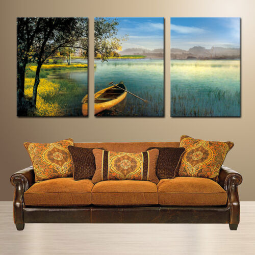 CALM RIVER ready to hang mounted fiberboard canvas wall art//surpassed stretched