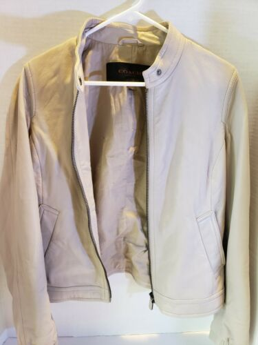 COACH Women's Beige Motorcycle Leather Jacket Size