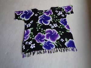 Women-039-s-Purple-Floral-Black-Summer-Top-Cold-Shoulder-Blouse-With-Tassels-12-14
