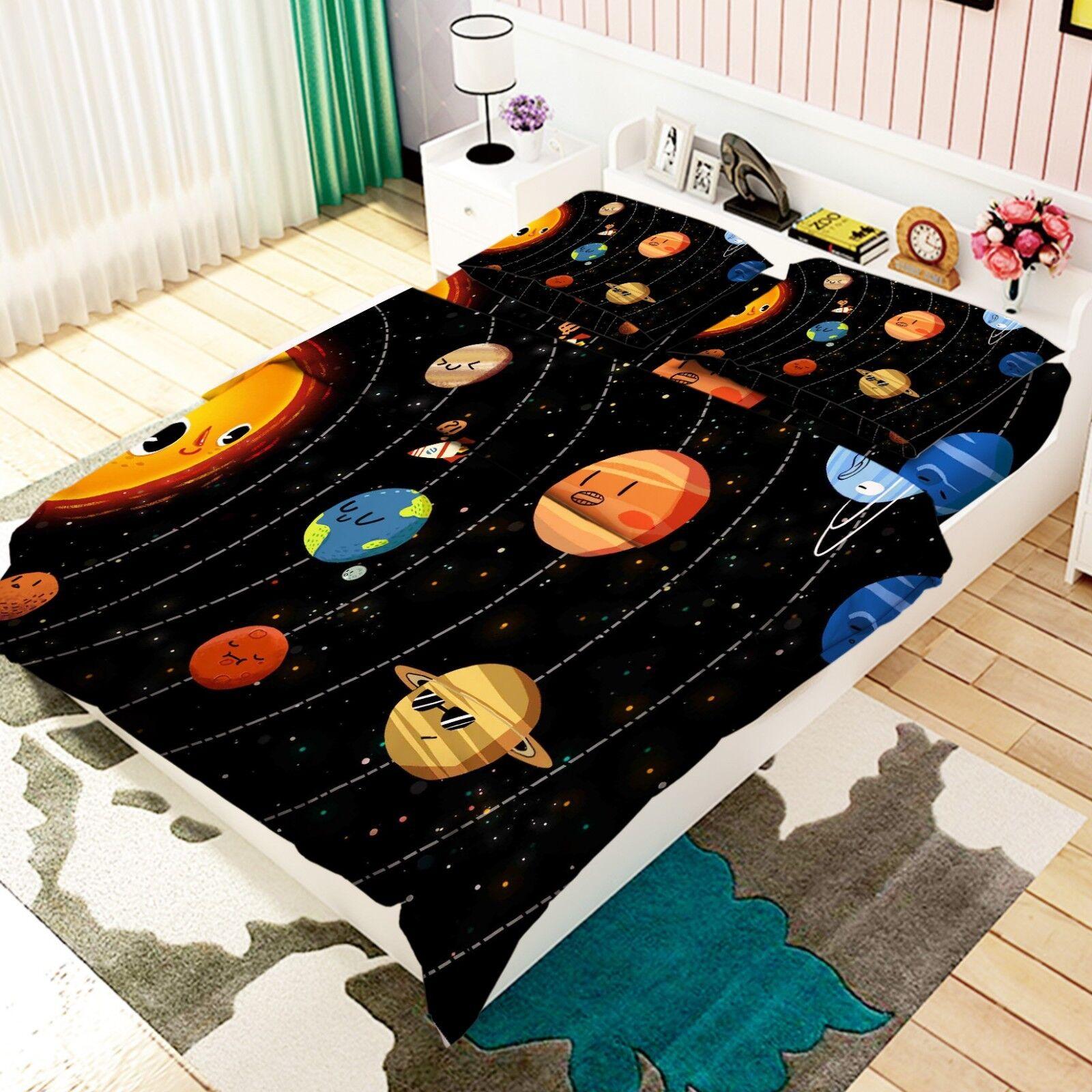 3D Cartoon Planet 56 Bed Pillowcases Quilt Duvet Cover Set Single King UK Lemon