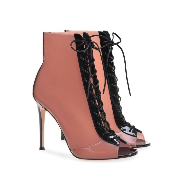 Women Peep Toe High Heel PVC Ankle Boots Stiletto Nightclub Lace up shoes Sandal