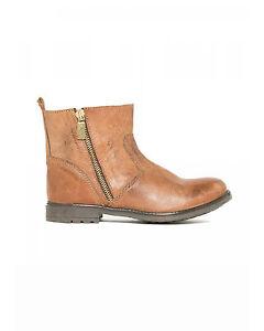 TWIN-SET-scarpa-Biker-in-pelle-chiusura-a-zip-dorata-Donna-ragazza-in-SCONTO