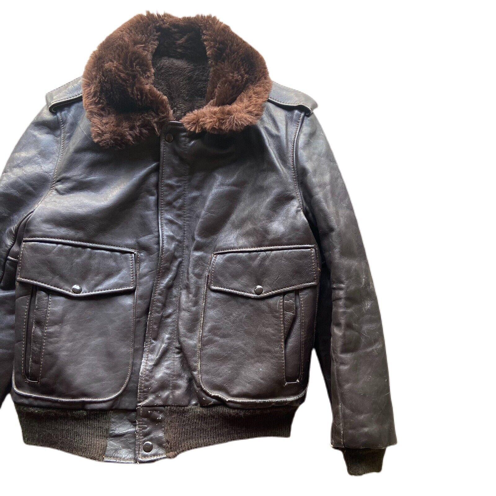 Vintage 60's G-1 Leather Bomber Flight Fur Jacket - image 2