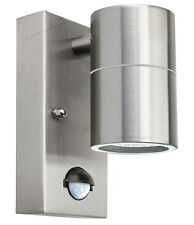 PIR Stainless Single Outdoor Wall Light with With Movement Sensor IP44