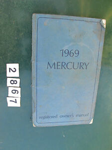 1969 Mercury Factory OEM Original Vintage Registered Owner's Manual Owner