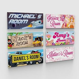 Personalised bedroom childs childrens kids door plaques for Signs for kids rooms