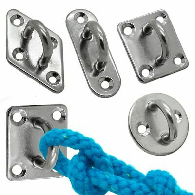 PACK OF 4 GALVANISED STAPLE ON PLATE Lashing Chain Mooring Fixing Animal Tether