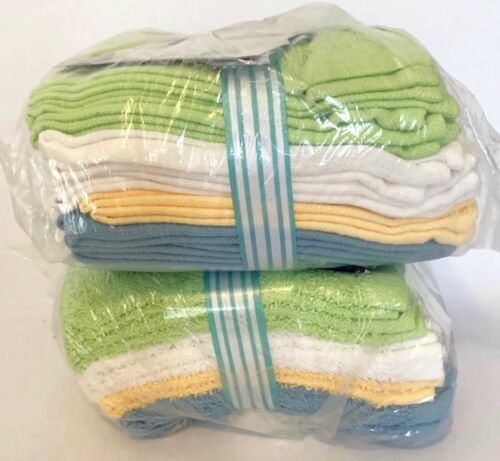 2 Pack Blue White Brighter Days BrighterDays Washcloths Yellow Lime Green