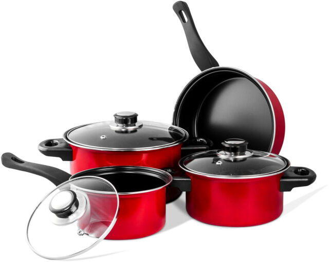 Imperial Home Mw1204 Carbon Steel 7 Pieces Nonstick Red Cookware