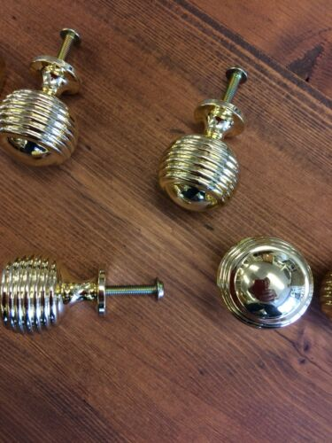 6 Beehive knobs,Cupboard Door,brass Beehive drawer handles,chest,kitchen,reeded