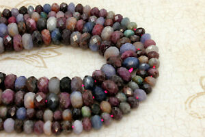 Natural-Ruby-Sapphire-Faceted-Rondelle-Loose-Gemstone-Beads-Stone-Beads